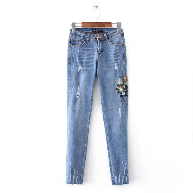 2017 Europe and the United States fashion wild washed flowers heavy industry embroidery stretch pants female