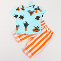 Children's Clothes, 2017  And Baby Potted Printing Short Sleeve T-Shirt + Vertical Stripes Anti-Mosquito Trouser Suit