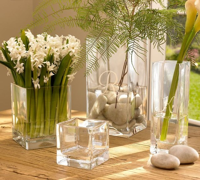 Transparent Glass Vase Vase Square Square Mouth Combined Flower Vase