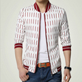 Spring 2015 New Men's Fashion Personality Spring Brand Of High-Grade Pure Cotton Striped 7 Minutes Of Sleeve Men Leisure Jacket