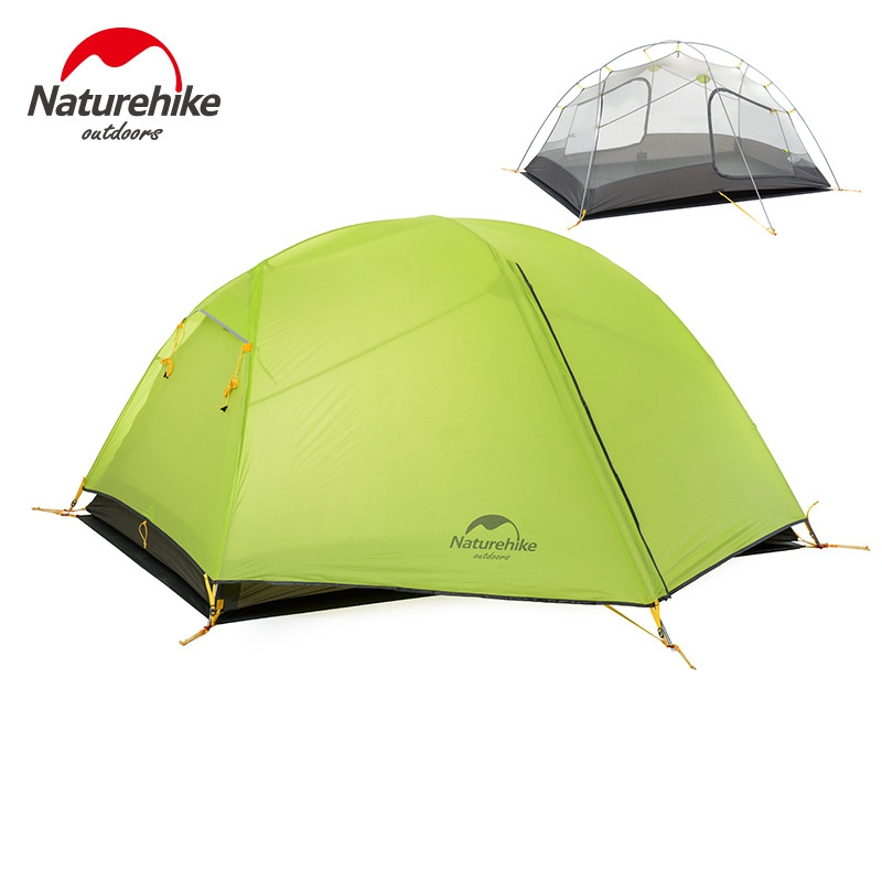 Naturehike Camping Tent 2 Person 20D Silicone Fabric Double Layers Rainproof NH Outdoor Ultralight Tent 2Colors 2018 hillman camping tent high mountain highland snow mountain double layers silicone coating tents super windproof rainproof