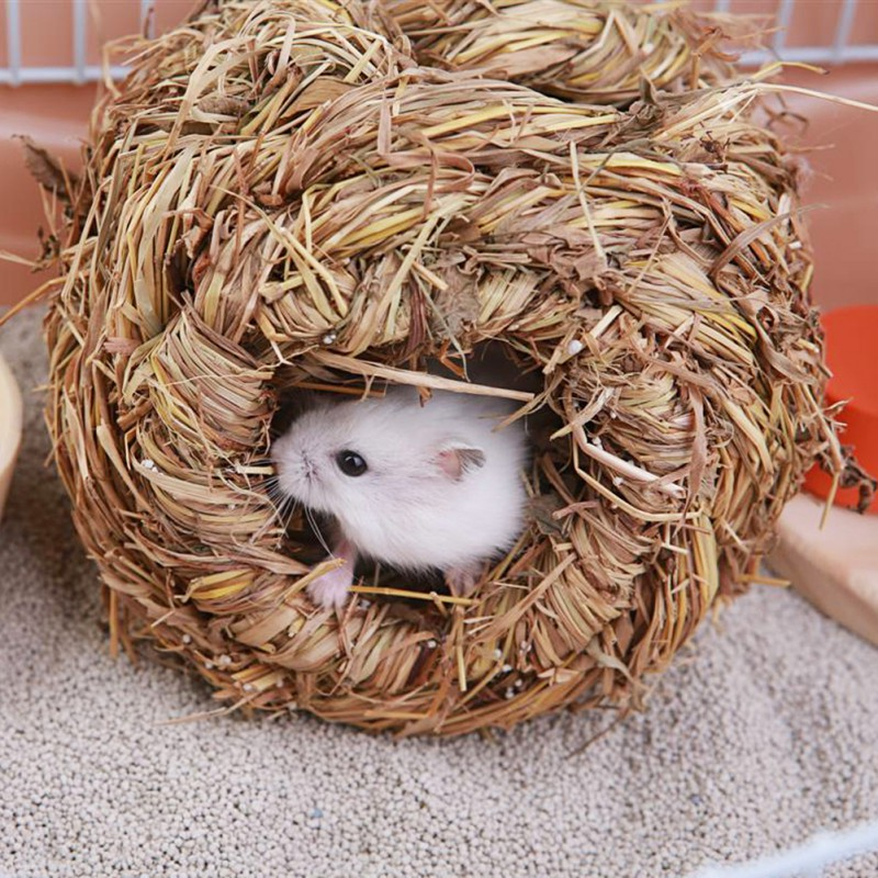Pet Small Animals Supplies Pet Woven Cage/Bed/House for Hamster Rabbit Guinea Pig Grass Yellow Little Pet Woven Cottage