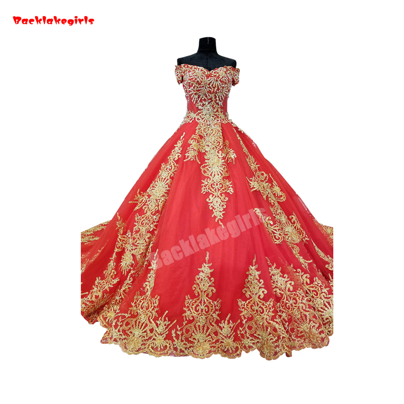 32890 délicate or appliqué Long Train robes de mariée rouge chérie robe de bal moelleux à lacets
