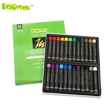 DelGreen Thick Color Artist 24 Color Oil Pastels Set Round Shape Oil Pastel Crayon Sticks 24 Colors Set School Stationery(China)