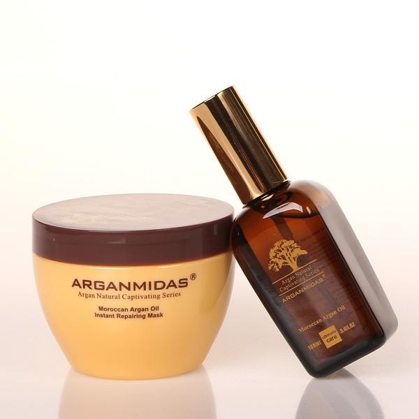 Arganmidas ARGAN Marroquí ACEITE DE Pelo 300 ml mascarilla Capilar 100 ml PETRÓLEO reparación del pelo producto mejor producto