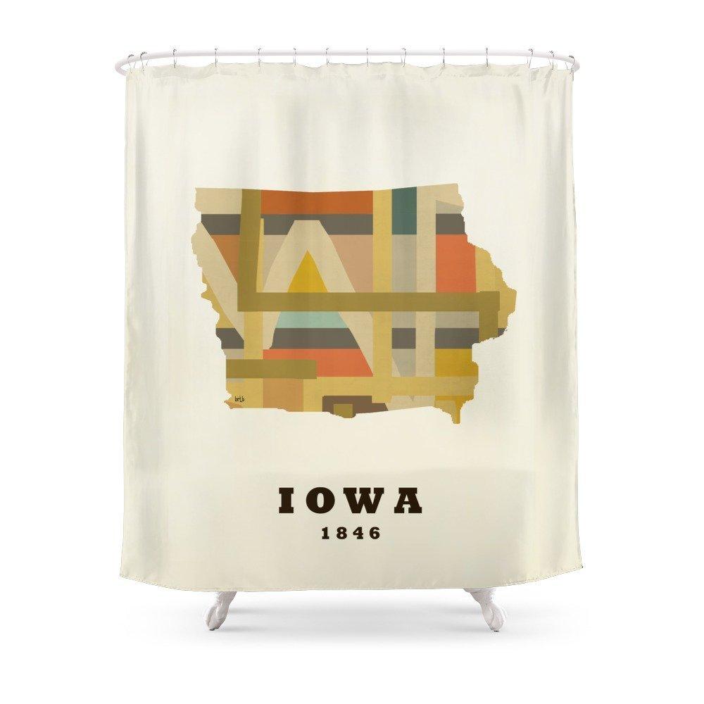 Iowa State Map Modern Shower Curtain Custom Curtain For Bathroom Waterproof Polyester