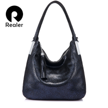 REALER women genuine leather handbags vintage shoulder messe