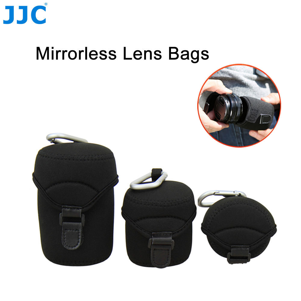 Black Kolefei 4Pcs Drawstring Soft Neoprene Lens Storage Bag Extra Large Pouch for Canon Nikon