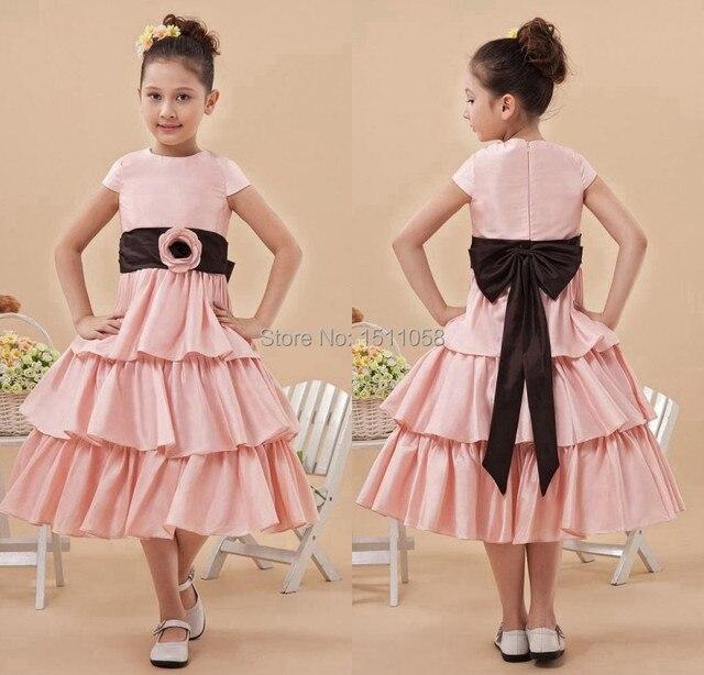Pink Black Festa Infantil Kids Frock Designs Scoop Cap Sleeve Girls