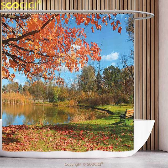 Polyester Shower Curtain Landscape Autumn Scenery In Michigan USA Scenic View With Trees Pond And Clear Sky Orange Blue Green