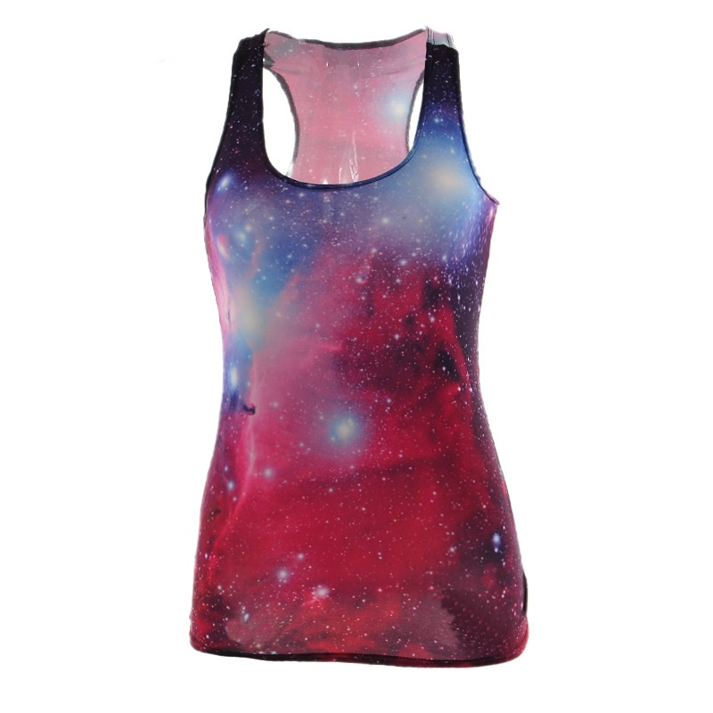 4b57fef9582f5 Women Sports Tank Tops Lady Sexy Sleeveless T Shirt Clothes Elastic Yoga  Running Girls Vests Camisole Sky Digital Print -in Running Vests from Sports  ...