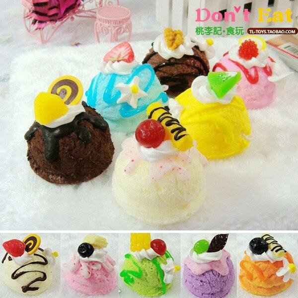30pcs rare squishy kawaii SOFT PU FOOD TOY 5cm Simulation puff ice cream cake modle mix