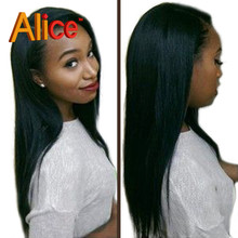 """Natural Black Straight Lace Front Human Hair Wigs U Part Wig Human Hair 8""""-30""""inches Full Lace Human Hair Wigs With Baby Hair"""