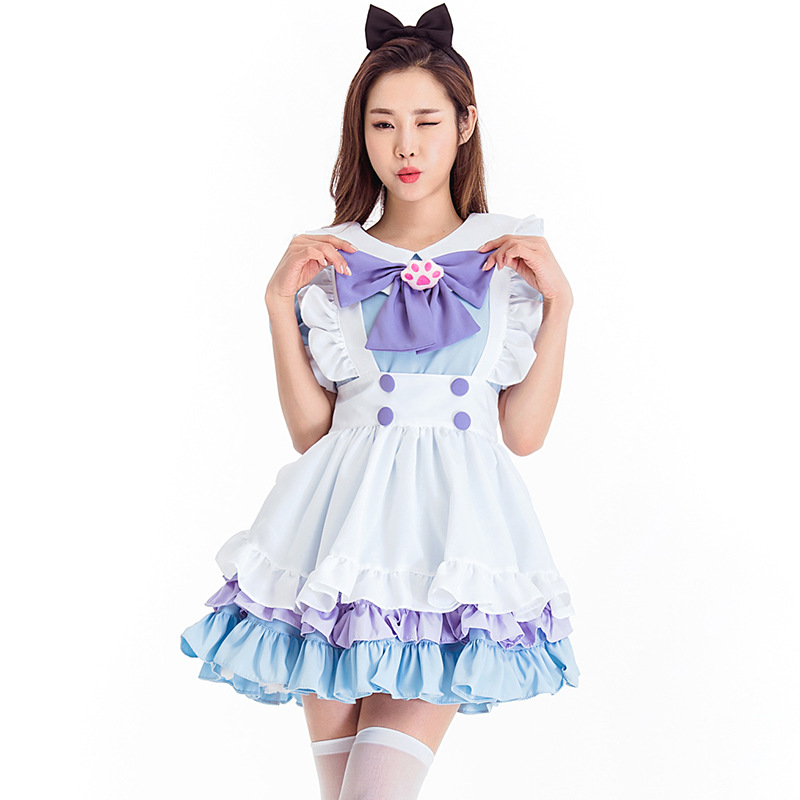New Arrival Alice In Wonderland Maid Costume Cosplay Light Blue Cat Lolita Style Dress Halloween For Women