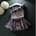 Children Girl Summer Clothes Sling Ruffles Vest TOP Tees +Floral Pleated Skirt Clothing 2 PCS Baby Clothes Suits