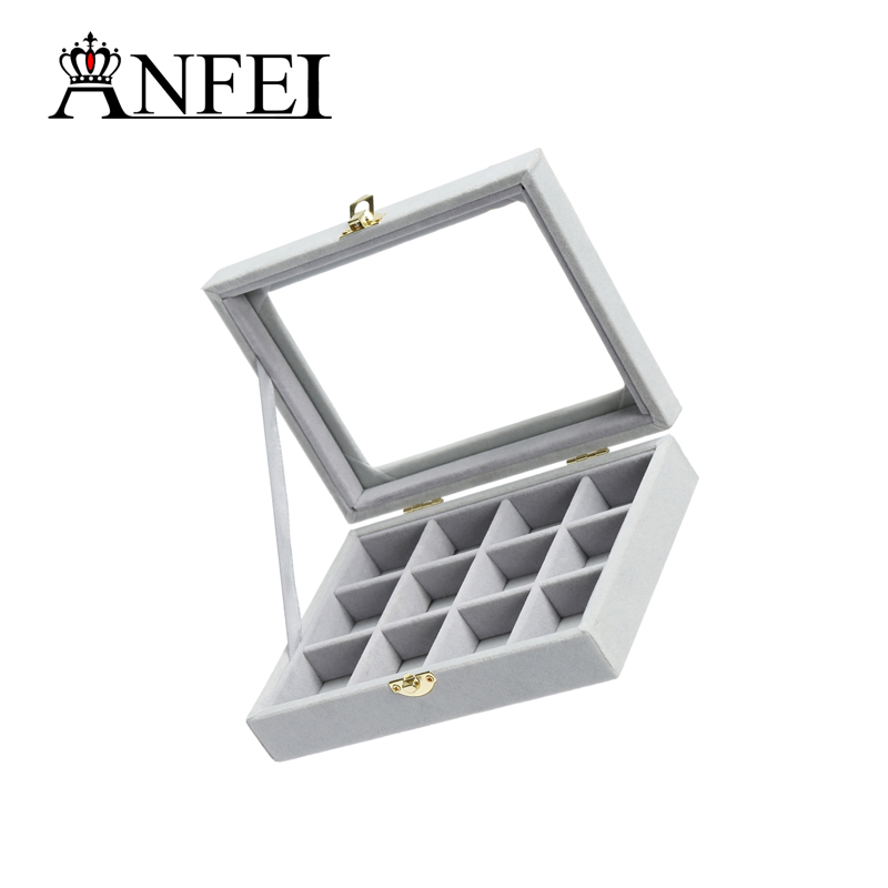 ANFEI 12 Grids Necklace Box Makeup Organizer Jewelery Box Gift Box Packaging Jewelry Stand Grey/Black/Rose Red/Purple Color A213