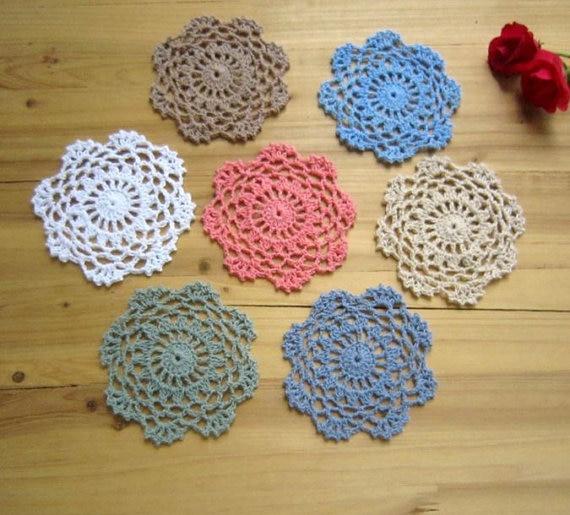 24 Pcsset Vintage Style Chic Floral Crochet Pattern Round Doilies