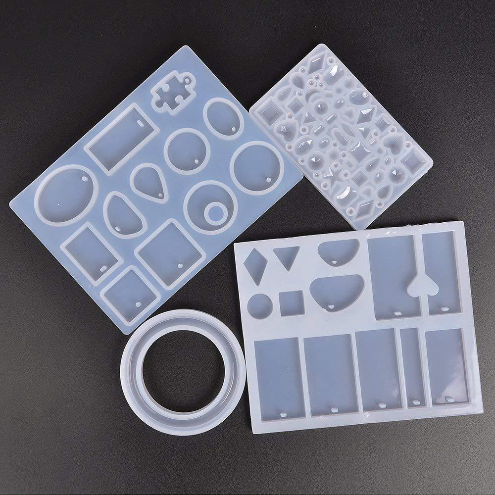 Купить с кэшбэком 127pcs Pendant Making Silicone Molds Tools Set Stirrers Spoons Twist Drill Screw Eye Pins DIY Resin Moulds Jewelry Making