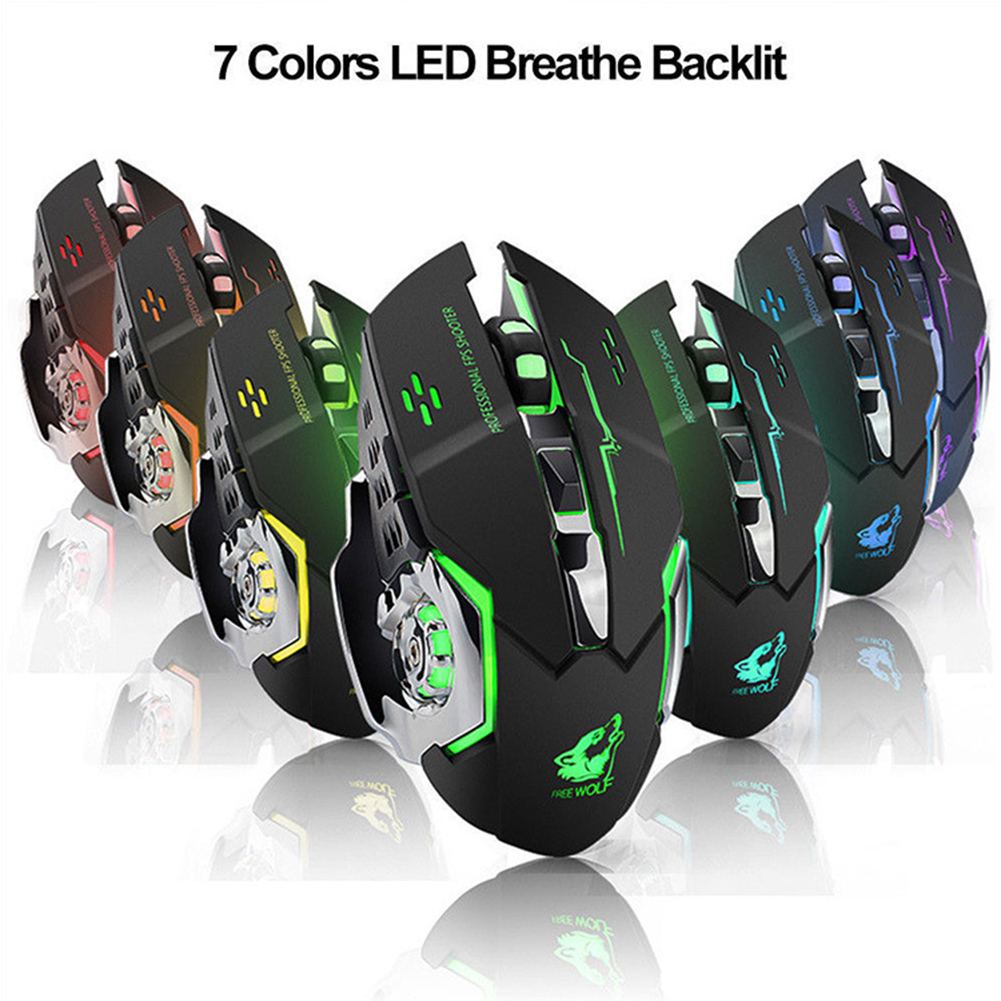 Hessy X8 Wireless Mouse Rechargeable Game Mouse Silent Illuminated Mechanical 1800Dpi 2.4G USB Wireless 7 Color Mouse Dropship