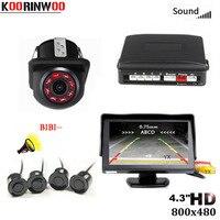 Koorinwou Parktronic Monitor de coche inalámbrico 800*480 Sensor de aparcamiento de coche 4 sondas zumbador de coche cámara de visión trasera paso atrás -alarma