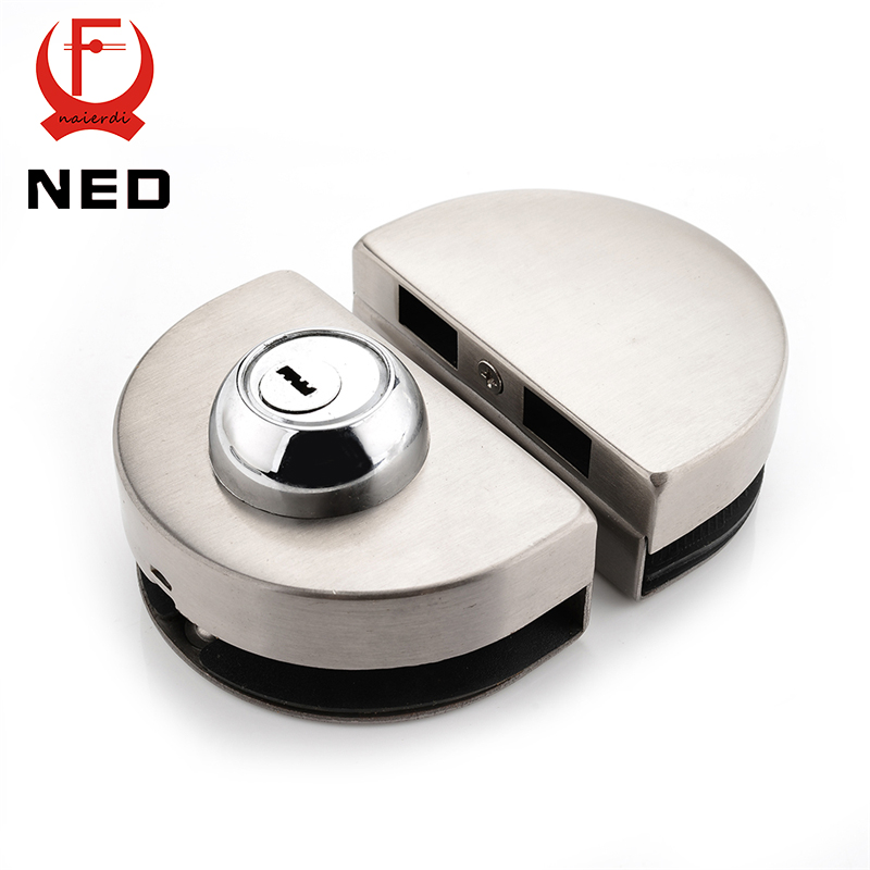 NED Double Glass Door Lock 304 Stainless Steel Single Open Frameless Door Latches Hasps For 10-12mm Thickness Furniture Hardware 10 12mm thick frameless glass door bolt latch latches with thumb turning thumbturn boring free latch to glass panel