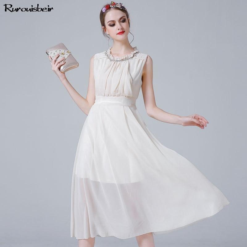 2019 bohème mi-mollet été plage robe femmes élégant sans manches à volants col Bowknot taille blanc en mousseline de soie robe vente