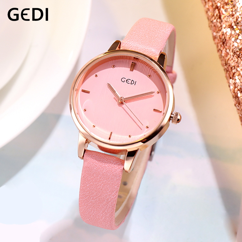 GEDI 2019 Luxury Women's Watch Leather Strap Female Woman Quartz Watch Fashion Lady Clock Wrist Watches Waterproof Reloj Mujer