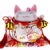 Fengshui Craft 8inch Maneki Neko Ceramic Lucky Cat with Lute Home Decor Ornaments Creative Business Gifts Fortune Cat Money Box