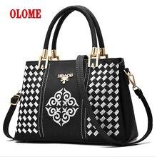 все цены на Embroidery Messenger Bags Women Leather Handbags Bags for Women 2018 Sac a Main Ladies Hand Bag онлайн