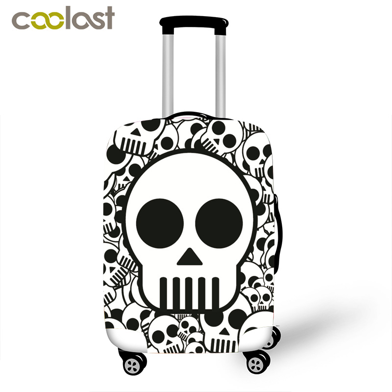 Skeleton Print Luggage Cover Cool Skull Suitcase Cover High Elastic Dust Protective Covers for 18-28 Inch Suitcase Baggage Set star print refrigerator dust cover