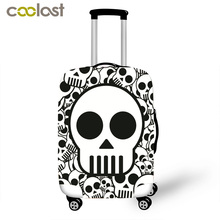 Skeleton Print Luggage Cover Cool Skull Suitcase Cover High Elastic Dust Protective Covers for 18-28 Inch Suitcase Baggage Set(China)