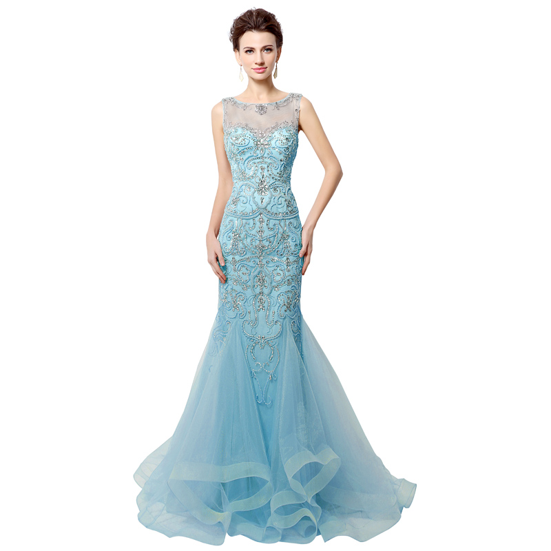 c10ed6c0bc US $174.93 30% OFF|2018 Luxury Crystal Mermaid Evening Dresses with Beading  Illusion Tulle Sleeveless Long Elegant Women Evening Party Gowns OL006-in  ...
