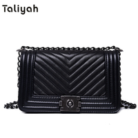 Taliyah Brand 2017 Winter Handbags Women Messenger Bag Chain Shoulder Vintage Fashion V Ladies Hand Bag