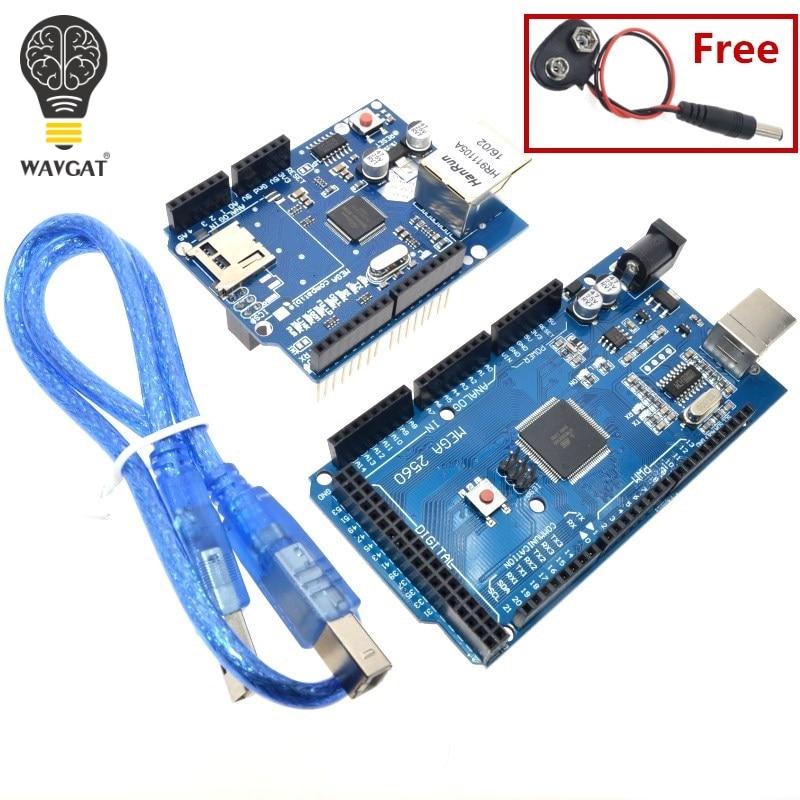 Carte USB MEGA 2560 R3 ATmega2560 R3 AVR + câble USB W5100 pour Arduino 2560 MEGA2560 R3, WAVGAT