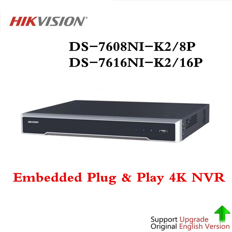 Hikvision 8/16 CH CCTV System DS-7608NI-K2/8P & DS-7616NI-K2/16 Embedded Plug & Play 4K NVR with 2 SATA Interfaces 8 POE Port 4pcs hikvision ds 2cd2135fwd is h 265 ip camera replace ds 2cd2135f is hikvision nvr ds 7608ni k2 8p 8ch 8 ports poe 4k h 265