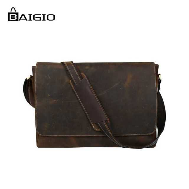 Baigio Leather Briefcases Men 15.6
