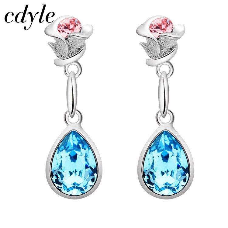 Cdyle Crystals from Swarovski Dangle Earrings Rose Shape Women Jewelry Elegant Blue Crystal Bijous Austrian Rhinestone Paved pair of elegant spiral tiered rhinestone dangle earrings