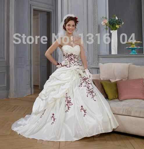 Puffy White And Red Two Tone Ball Gown Wedding Dresses With Color