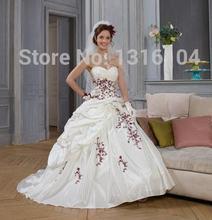 Robes de mariée gothique, Vintage, avec Corset, blanc rouge deux tons