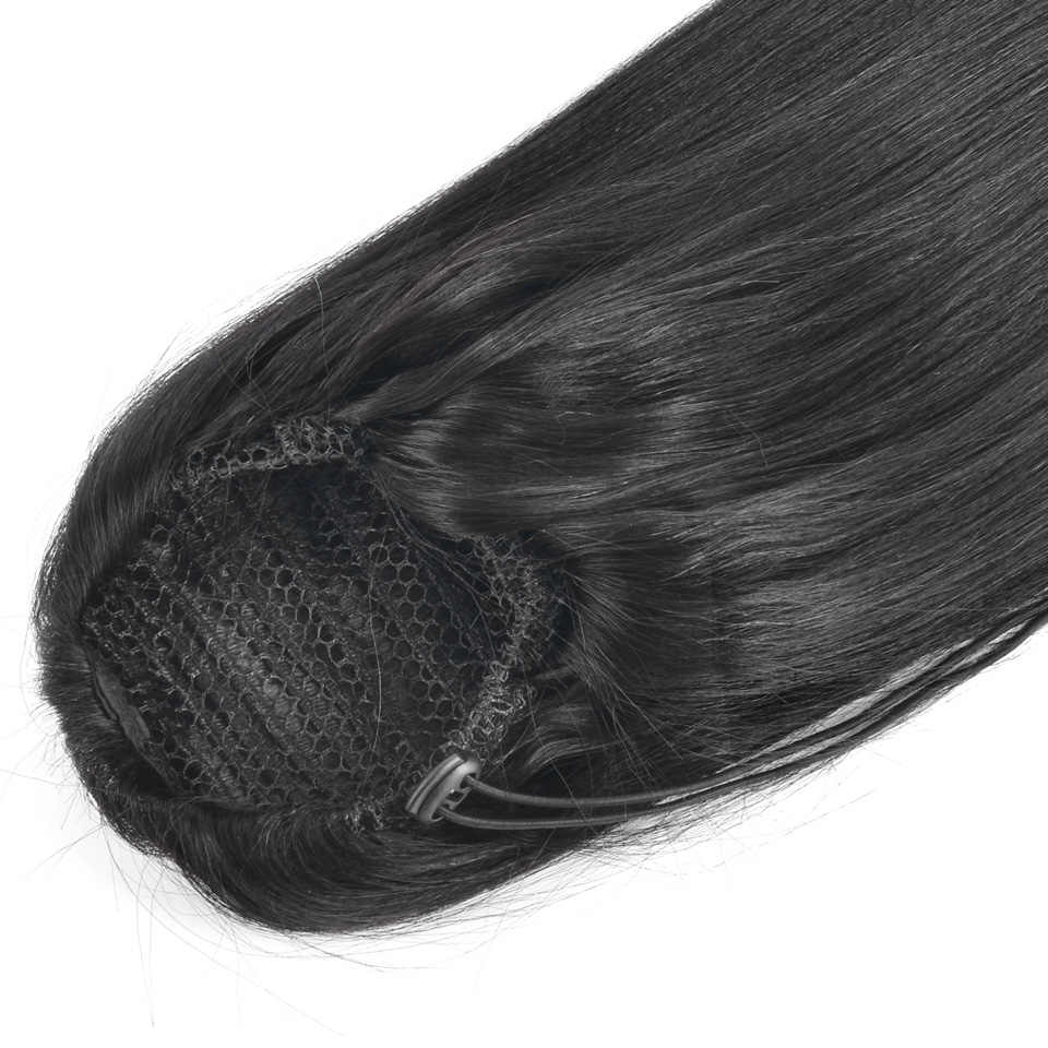 Yvonne бразильские яки прямые конский хвост человеческие волосы на заколках для наращивания девственные волосы шнурок конский хвост 1 шт. натуральный цвет