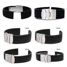 18-24mm de Borracha de Silicone À Prova D' Água Chic Wrist Watch Band Strap Implantação Buckle