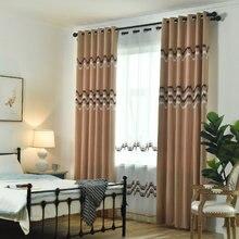 Вышитые кофейные, гостиной с синими хлопковые шторы, строчки, современные шторы, спальни, кухни, гостиной, пользовательские шторы