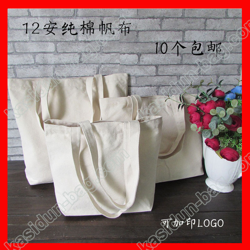 (50Pcs/Lot) Size W34xh25xd8cm DIY Painting Canvas Tote Bag Blank
