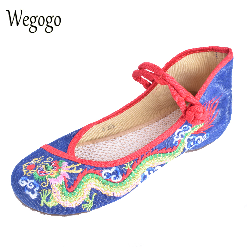 Wegogo Women Embroideried Shoes Flats Dragon Embroidered Cloth Shoes Ethnic Boutique Singles Dance Walking Shoes 34-41 ethnic embroidered black cami dress for women