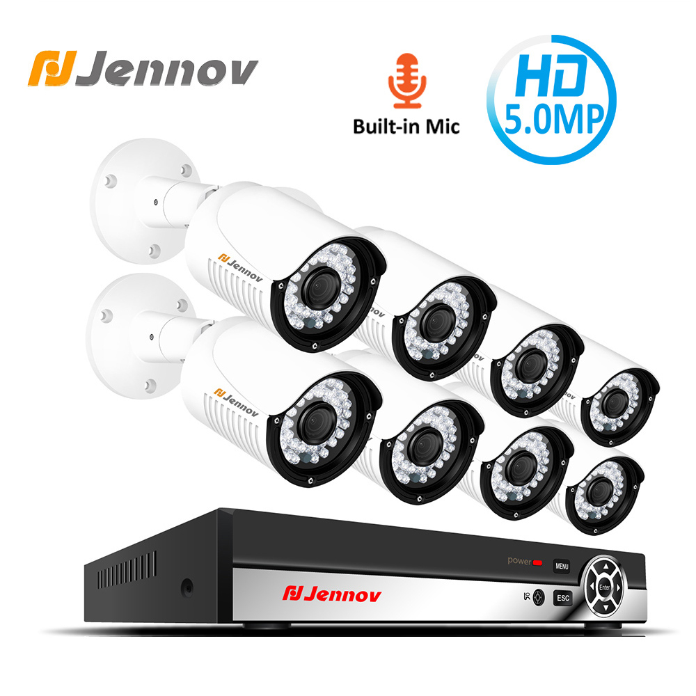 Jennov 5MP 8CH H.265 HD Sicherheit System POE NVR Video Überwachung Audio Record IP Kamera P2P Set CCTV Kit Im Freien wasserdicht