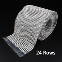 24 Rows SS8 Kim Cương Hotfix Rhinestone Lưới Dải Chain với cơ sở Nhôm bạc pha lê trim lưới 7.8 cm * 120 cm cho ngành may mặc