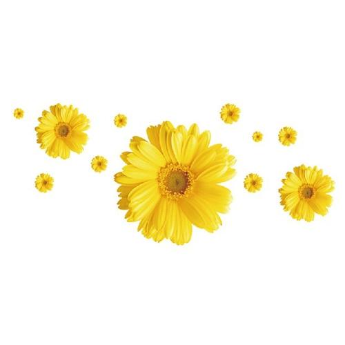 2 zestaw zdejmowane naklejki pcv różowe i żółte ozdobne kwiaty - Wystrój domu - Zdjęcie 4