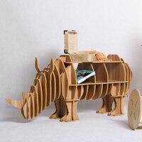 1 Set North European Style Creative Wood Rhinos Table Wood Desk Animal Furniture TM003M