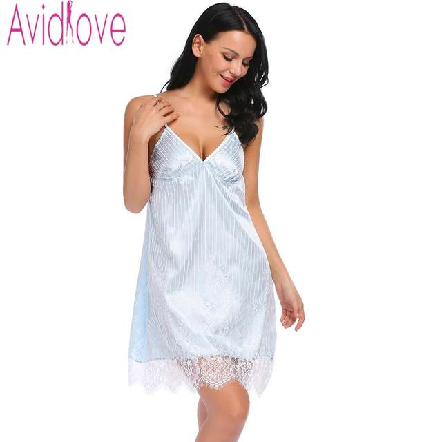 efed480fa06 Online Shop Avildove Sexy Silk Satin Night Dress Women Sleeveless Nighties V -neck Nightgown Plus Size Nightdress Lace Sleepwear Nightwear
