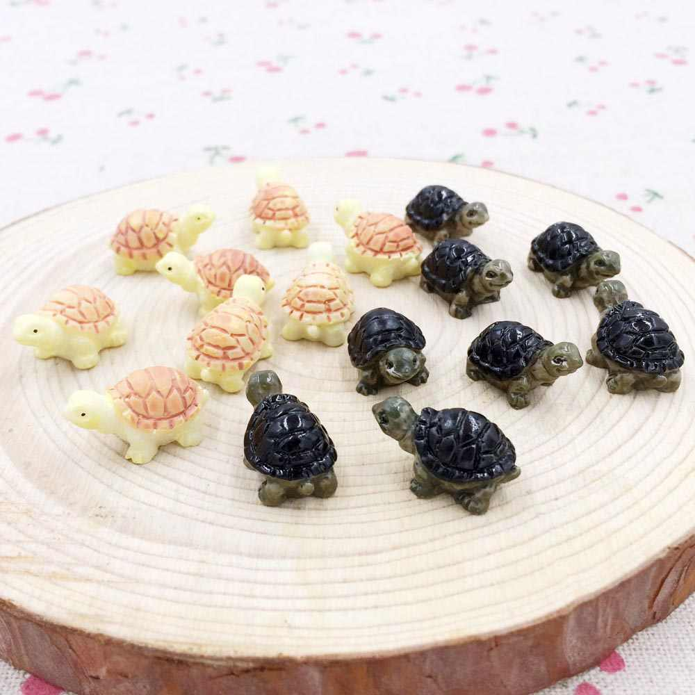 10 Pieces Kawaii Mini Resin Turtle Fairy Garden Miniatures Terrarium Figurines Gnome Decoration DIY Craft Handmade :12*20mm